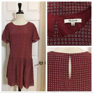 Madewell Red Silk Print Dress Casual Lined